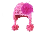 Candy Pink Winter Wimple w Raspberry Curly Marabou