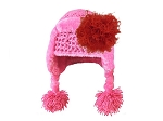 Candy Pink Winter Wimple w Red Curly Marabou