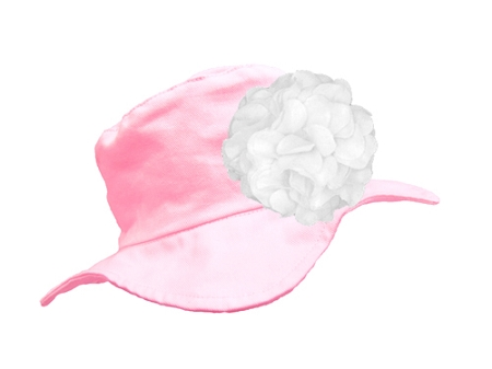 Pale Pink Sun Hat with White Large Geraniums