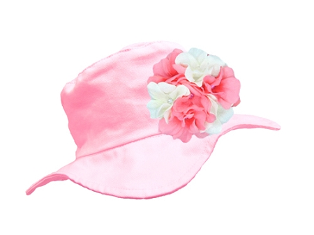 Pale Pink Sun Hat with Pink & White Large Geraniums