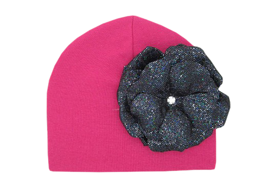 Raspberry Cotton Hat with Sequins Black Rose