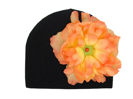Black Cotton Hat with Orange Large Peony