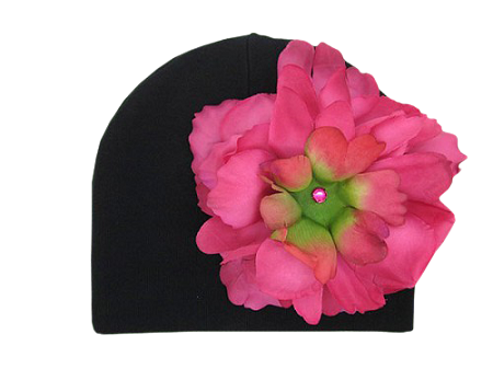 Black Cotton Hat with Raspberry Large Peony