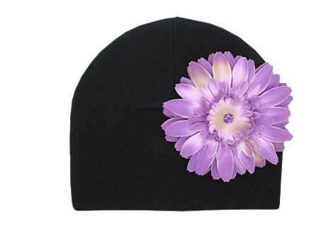 Black Cotton Hat with Purple Daisy