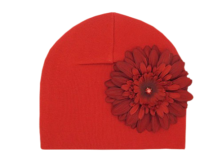 Red Cotton Hat with Red Daisy