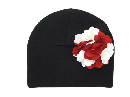 Black Cotton Hat with Red White Large Geraniums