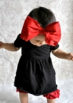 Black Soft Headband w Red Bow-Rae-Mi