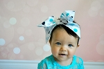 Teal Soft Headband w Navy Dot Bow-Rae-Mi