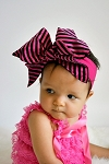 RASPBERRY SOFT HEADBAND W CANDY PINK STRIPE BOW-RAE-MI