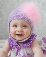 Lavender Blossom Bonnet with Candy Pink Large regular Marabou
