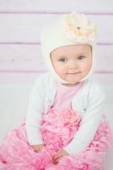 White Blossom Bonnet with Pale Pink Small Rose