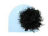 Baby Blue Cotton Hat with Black Large Curly Marabou