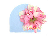 Baby Blue Cotton Hat with Candy Pink Large Peony
