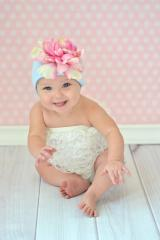 Baby Blue Cotton Hat with Pale Pink Large Peony
