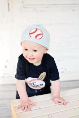 Baby Blue Applique Hat with Red Baseball