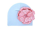 Baby Blue Cotton Hat with Sequins Pale Pink Rose