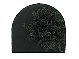 Black Cotton Hat with Black Large Curly Marabou