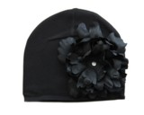 Black Cotton Hat with Black Large Peony