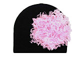 Black Cotton Hat with Candy Pink Large Curly Marabou