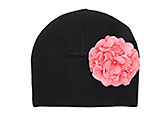 Black Cotton Hat with Candy Pink Large Geraniums