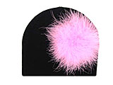 Black Cotton Hat with Candy Pink Large regular Marabou