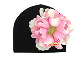 Black Cotton Hat with Candy Pink Large Peony