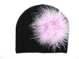 Black Cotton Hat with Lavender Large regular Marabou