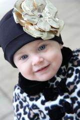 Black Cotton Hat with Metallic Gold Rose