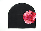 Black Cotton Hat with Pink Raspberry Large Geraniums