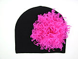 Black Cotton Hat with Raspberry Large Curly Marabou