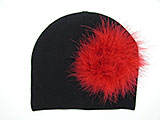 Black Cotton Hat with Red Large regular Marabou