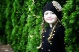 Black Cotton Hat with Sequins Gold Rose