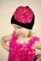 Black Cotton Hat with Sequins Raspberry Rose