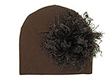 Brown Cotton Hat with Brown Large Curly Marabou