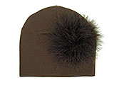 Brown Cotton Hat with Brown Large regular Marabou