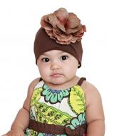 Brown Cotton Hat with Brown Large Rose