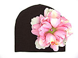 Brown Cotton Hat with Candy Pink Large Peony