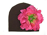 Brown Cotton Hat with Raspberry Large Peony