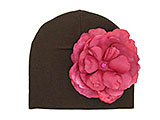 Brown Cotton Hat with Raspberry Large Rose