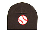 Brown Applique Hat with Red Baseball