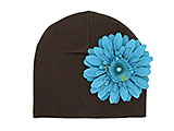 Brown Cotton Hat with Teal Daisy
