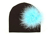 Brown Cotton Hat with Teal Large regular Marabou