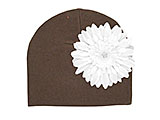 Brown Cotton Hat with White Daisy