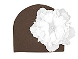 Brown Cotton Hat with White Large Peony