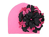 Candy Pink Cotton Hat with Black Raspberry Large Peony