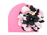 Candy Pink Cotton Hat with Pink Black Large Peony