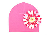 Candy Pink Cotton Hat with Pink Raspberry Daisy