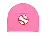 Candy Pink Applique Hat with Red Baseball