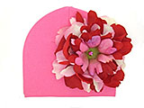 Candy Pink Cotton Hat with Red Pink Large Peony
