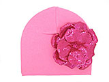 Candy Pink Cotton Hat with Sequins Raspberry Rose
